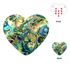Flower Power Fractal Batik Teal Yellow Blue Salmon Playing Cards (heart)  by EDDArt
