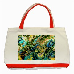 Flower Power Fractal Batik Teal Yellow Blue Salmon Classic Tote Bag (red) by EDDArt
