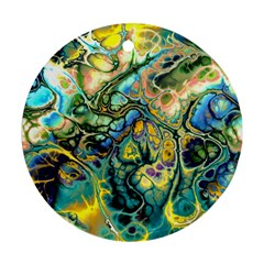 Flower Power Fractal Batik Teal Yellow Blue Salmon Round Ornament (two Sides) by EDDArt