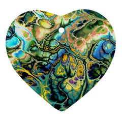 Flower Power Fractal Batik Teal Yellow Blue Salmon Heart Ornament (two Sides) by EDDArt