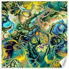 Flower Power Fractal Batik Teal Yellow Blue Salmon Canvas 16  X 16   by EDDArt