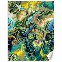Flower Power Fractal Batik Teal Yellow Blue Salmon Canvas 18  X 24   by EDDArt