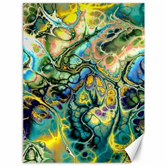 Flower Power Fractal Batik Teal Yellow Blue Salmon Canvas 36  X 48   by EDDArt