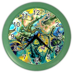 Flower Power Fractal Batik Teal Yellow Blue Salmon Color Wall Clocks by EDDArt