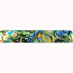 Flower Power Fractal Batik Teal Yellow Blue Salmon Small Bar Mats by EDDArt