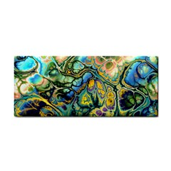 Flower Power Fractal Batik Teal Yellow Blue Salmon Cosmetic Storage Cases by EDDArt