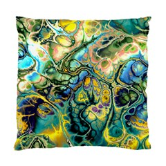 Flower Power Fractal Batik Teal Yellow Blue Salmon Standard Cushion Case (two Sides) by EDDArt