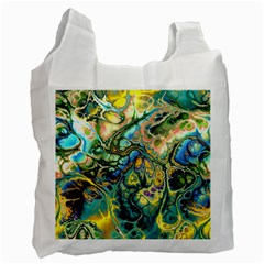 Flower Power Fractal Batik Teal Yellow Blue Salmon Recycle Bag (one Side) by EDDArt