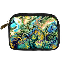 Flower Power Fractal Batik Teal Yellow Blue Salmon Digital Camera Cases by EDDArt