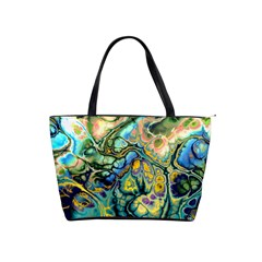 Flower Power Fractal Batik Teal Yellow Blue Salmon Shoulder Handbags by EDDArt