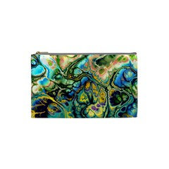 Flower Power Fractal Batik Teal Yellow Blue Salmon Cosmetic Bag (small)  by EDDArt