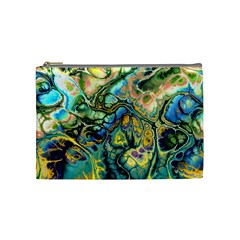 Flower Power Fractal Batik Teal Yellow Blue Salmon Cosmetic Bag (medium)  by EDDArt