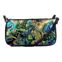 Flower Power Fractal Batik Teal Yellow Blue Salmon Shoulder Clutch Bags by EDDArt