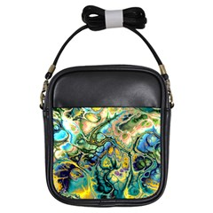 Flower Power Fractal Batik Teal Yellow Blue Salmon Girls Sling Bags by EDDArt