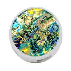 Flower Power Fractal Batik Teal Yellow Blue Salmon 4 Port Usb Hub (one Side) by EDDArt