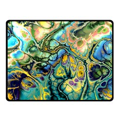 Flower Power Fractal Batik Teal Yellow Blue Salmon Fleece Blanket (small) by EDDArt
