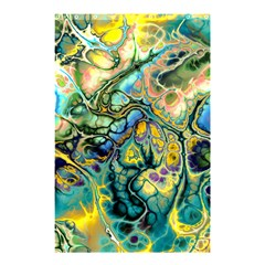 Flower Power Fractal Batik Teal Yellow Blue Salmon Shower Curtain 48  X 72  (small)  by EDDArt