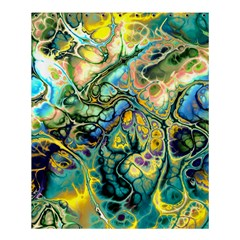 Flower Power Fractal Batik Teal Yellow Blue Salmon Shower Curtain 60  X 72  (medium)  by EDDArt