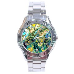 Flower Power Fractal Batik Teal Yellow Blue Salmon Stainless Steel Analogue Watch by EDDArt