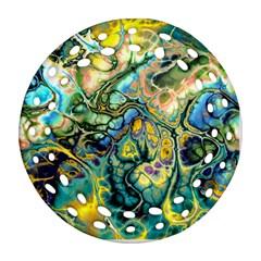 Flower Power Fractal Batik Teal Yellow Blue Salmon Ornament (round Filigree) by EDDArt