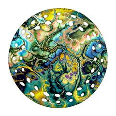 Flower Power Fractal Batik Teal Yellow Blue Salmon Round Filigree Ornament (two Sides) by EDDArt