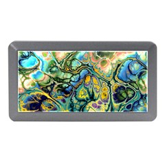Flower Power Fractal Batik Teal Yellow Blue Salmon Memory Card Reader (mini) by EDDArt