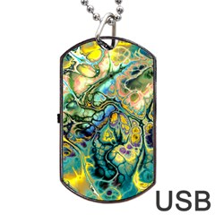 Flower Power Fractal Batik Teal Yellow Blue Salmon Dog Tag Usb Flash (one Side) by EDDArt