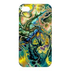 Flower Power Fractal Batik Teal Yellow Blue Salmon Apple Iphone 4/4s Hardshell Case by EDDArt