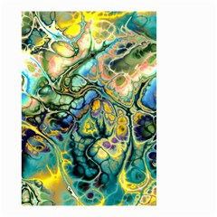 Flower Power Fractal Batik Teal Yellow Blue Salmon Small Garden Flag (two Sides) by EDDArt