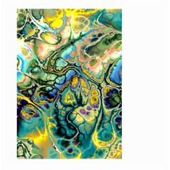 Flower Power Fractal Batik Teal Yellow Blue Salmon Large Garden Flag (two Sides) by EDDArt
