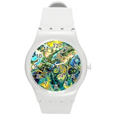 Flower Power Fractal Batik Teal Yellow Blue Salmon Round Plastic Sport Watch (m) by EDDArt