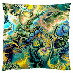 Flower Power Fractal Batik Teal Yellow Blue Salmon Large Cushion Case (two Sides) by EDDArt