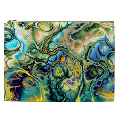 Flower Power Fractal Batik Teal Yellow Blue Salmon Cosmetic Bag (xxl)  by EDDArt