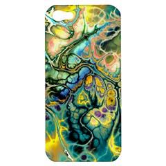 Flower Power Fractal Batik Teal Yellow Blue Salmon Apple Iphone 5 Hardshell Case by EDDArt