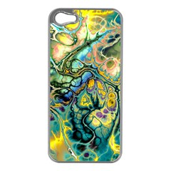Flower Power Fractal Batik Teal Yellow Blue Salmon Apple Iphone 5 Case (silver) by EDDArt
