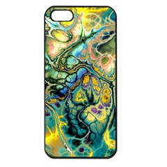 Flower Power Fractal Batik Teal Yellow Blue Salmon Apple Iphone 5 Seamless Case (black) by EDDArt