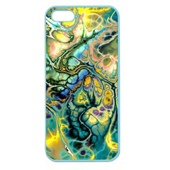 Flower Power Fractal Batik Teal Yellow Blue Salmon Apple Seamless Iphone 5 Case (color) by EDDArt