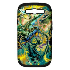 Flower Power Fractal Batik Teal Yellow Blue Salmon Samsung Galaxy S Iii Hardshell Case (pc+silicone) by EDDArt