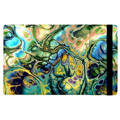 Flower Power Fractal Batik Teal Yellow Blue Salmon Apple Ipad 2 Flip Case by EDDArt