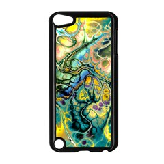 Flower Power Fractal Batik Teal Yellow Blue Salmon Apple Ipod Touch 5 Case (black) by EDDArt