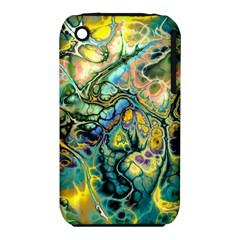 Flower Power Fractal Batik Teal Yellow Blue Salmon Iphone 3s/3gs by EDDArt