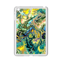 Flower Power Fractal Batik Teal Yellow Blue Salmon Ipad Mini 2 Enamel Coated Cases by EDDArt