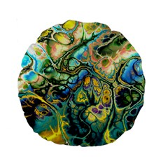 Flower Power Fractal Batik Teal Yellow Blue Salmon Standard 15  Premium Round Cushions by EDDArt