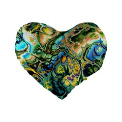 Flower Power Fractal Batik Teal Yellow Blue Salmon Standard 16  Premium Heart Shape Cushions by EDDArt