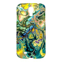 Flower Power Fractal Batik Teal Yellow Blue Salmon Samsung Galaxy S4 I9500/i9505 Hardshell Case by EDDArt