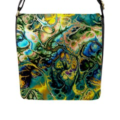 Flower Power Fractal Batik Teal Yellow Blue Salmon Flap Messenger Bag (l)  by EDDArt