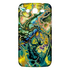 Flower Power Fractal Batik Teal Yellow Blue Salmon Samsung Galaxy Mega 5 8 I9152 Hardshell Case  by EDDArt