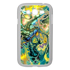 Flower Power Fractal Batik Teal Yellow Blue Salmon Samsung Galaxy Grand Duos I9082 Case (white) by EDDArt