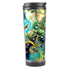 Flower Power Fractal Batik Teal Yellow Blue Salmon Travel Tumbler by EDDArt