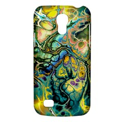 Flower Power Fractal Batik Teal Yellow Blue Salmon Galaxy S4 Mini by EDDArt